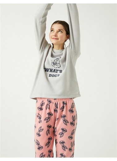 Koton Warner Bros Lisansli Bugs Bunny Temali Pijama Takimi Pembe